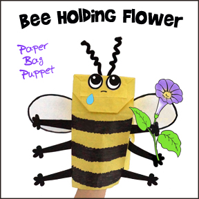 Bee Paper Bag Puppet Craft Pattern