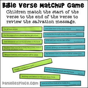 Printable Salvation Bible Verse Matchup Game