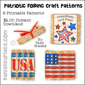 Patriotic Folding Craft Stick Printable Patterns