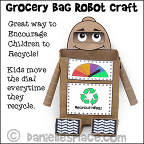 Grocery Bag Recycle Robot Craft for Kids