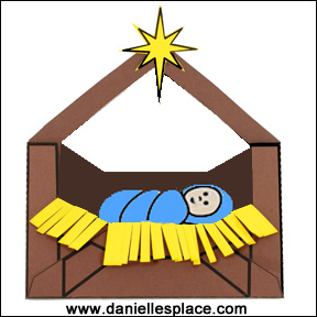 Baby Jesus in a Manger Craft with Printable Envelope for Preschool