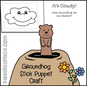 Groundhog Stick Puppet Craft and Activity Sheet