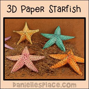 3d paper starfish patterns printable craft patterns