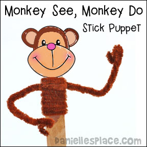 Monkey See, Monkey Do Stick Puppet Craft Patterns