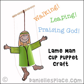 Dancing Lame Man Cup Craft for Sunday School