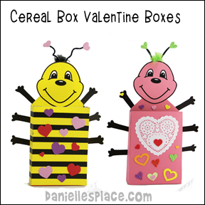Cereal Box Bee and Bug Valentine Box Craft