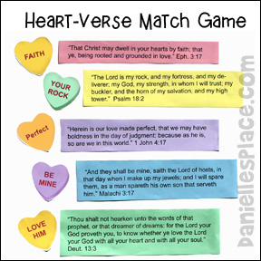"""Match the Candy Heart to the Verse"" Game and Bulletin Board Display"
