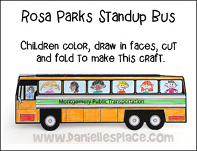 Rosa parks stand up bus craft printable craft patterns for Craft kings wv menu