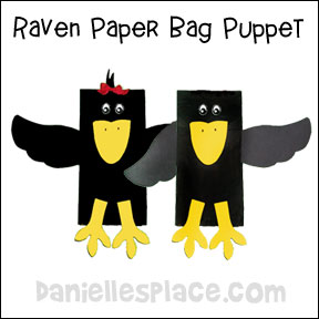 Raven or Crow Paper Bag Puppet