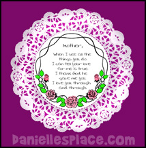 Mother's Day Doily Poem Craft