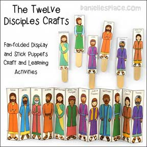Twelve Disciples Stick Puppets or Fan-folded Display