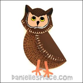 Owl Paper Plate Puppet Craft & Bird Crafts | Download Categories | Printable Craft Patterns