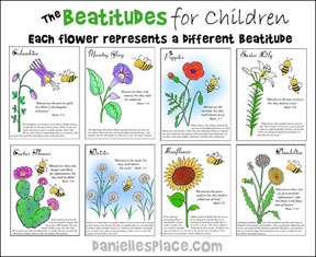 Beatitude Flower Posters and Coloring Sheets