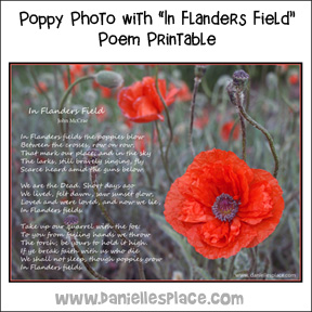 "Free ""In Flanders Field"" Poem and Poppy Picture Printable"