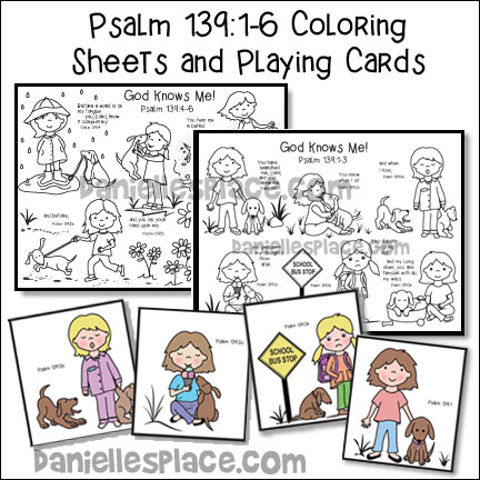 God Knows Me Coloring Sheets and Bible Verse Review Playing Cards