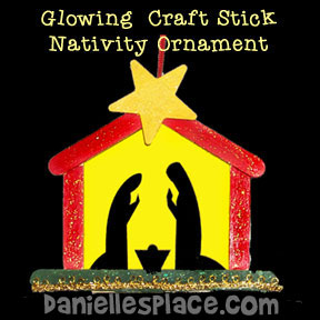 Glowing Craft Stick Nativity Ornament