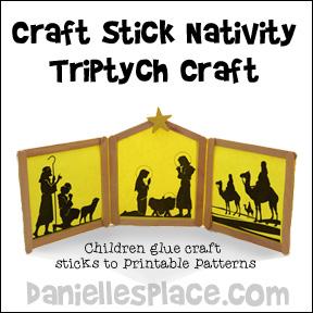 Craft Stick Nativity Triptych Craft