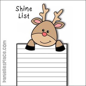 Shine! Reindeer Christmas List Printable