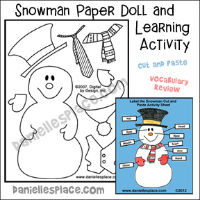 Snowman Paper Doll and Learning Activity