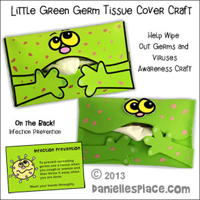 Don't Spread Germs - Little Green Germ Tissue Cover Craft