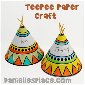 Teepee Thanksgiving Placeholder Craft