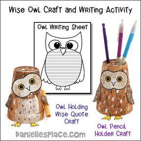 Owl Cup Craft and Writing Activity