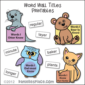 Word Wall Titles Printables