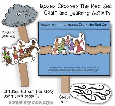 Moses Crossing the Red Sea Stick Puppets Bible Craft