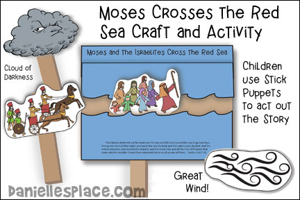 Moses Crosses the Red Sea Stick Puppet Craft and Activity