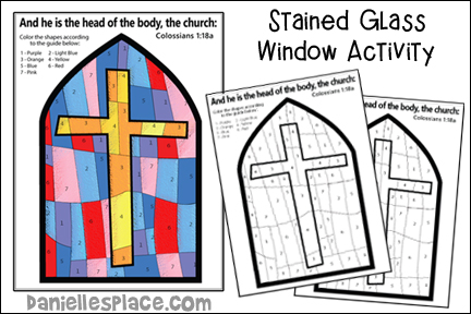 Stained Glass Window Color-by-Number Activity Sheet