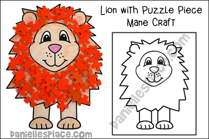Lion With Puzzle Piece Mane Craft for Kids