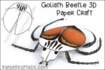 Goliath Beetle 3D Model Paper Craft
